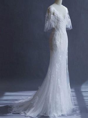Brautkleider 2021 Mantel Sihouette Halbarm V-Ausschnitt Bodenlangen Bambusblatt Spitze Brautkleid_5