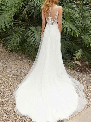 Einfache Hochzeitskleid Etui Jewel Neck Ärmellos Split Front Brautkleider_2