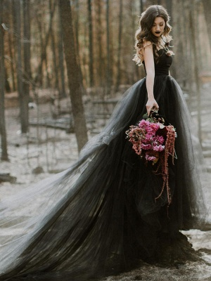 Black Wedding Dresses A-Line Strapless Pleated Taffeta Tulle Chapel Train Bridal Dress_6