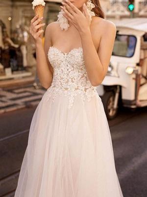 Einfache Brautkleider Tüll Herzausschnitt Ärmellos A-Linie Spitze Flora Brautkleider mit Zug_3