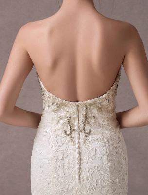 Mermaid Wedding Dresses Lace Strapless Ivory Sweetheart Beaded Bridal Dress With Train Exclusive_9