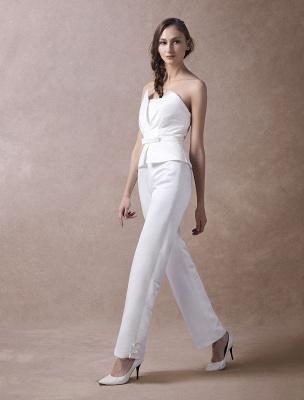Wedding Jumpsuits Ivory Strapless Peplum Satin Bow Sash Long Bridal Jumpsuits Exclusive_7