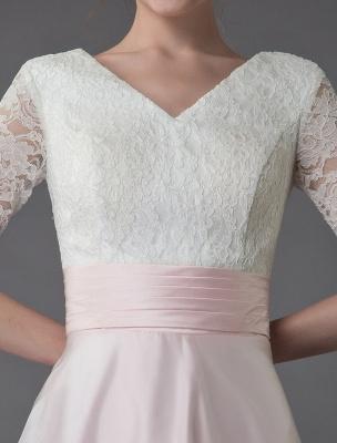 Brautkleider Rosa V-Ausschnitt Halbarm Plissee A-Linie Brautkleid Mit Zug Exklusiv_10