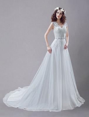 Weißes Hochzeitskleid Queen Anne Brautkleid mit Schärpe und Spitze_1