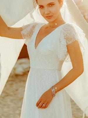 Simple Wedding Dress 2021 A Lne V Neck Short Sleeve Floor Length Tulle Beach Wedding Party Dresses Bridal Gowns_2