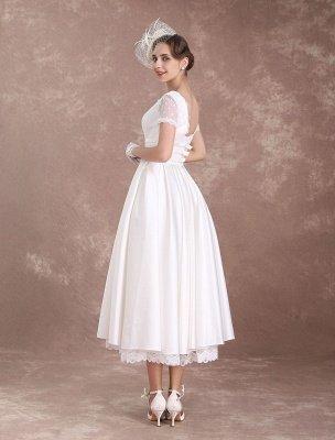 Vintage Wedding Dress Short Sleeve 1950'S Bridal Dress Backless Polka Dot Lace Trim Ivory Wedding Reception Dress Exclusive_8