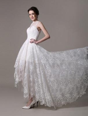 2021 Lace High-Low Brautkleid mit Llusion-Ausschnitt und Rücken exklusiv_6