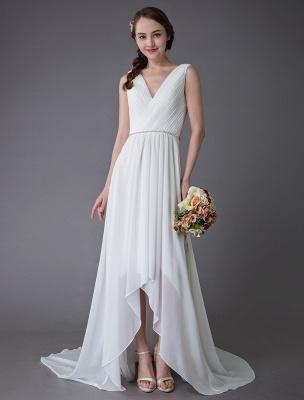 Beach Wedding Dresses Chiffon V Neck High Low Sash Summer Bridal Dress Exclusive_3