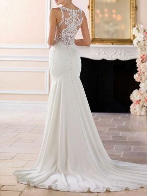 Wedding Dress 2021 Simple Mermaid Bateau Neck Sleeveless Lace Appliqued Traditional Bridal Dresses_2