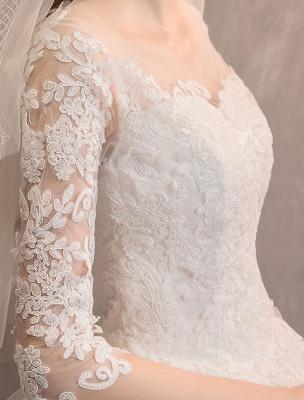 Elfenbein Brautkleider Tüll Illusion Ausschnitt Halbarm Bodenlangen Prinzessin Brautkleid_9