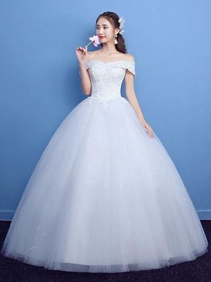 Robe de bal robe de mariée princesse silhouette parole longueur bateau cou manches courtes appliques tulle robes de mariée_1
