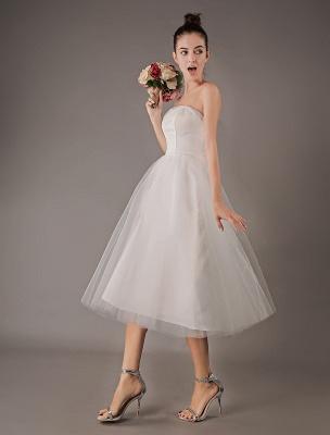 Vestidos de novia vintage Vestido de novia corto de tul sin tirantes hasta el té Exclusivo_5
