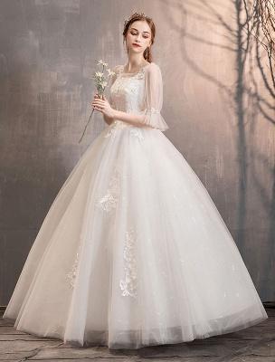 Tüll Brautkleid Elfenbein Spitze Applique Blumendetail Halbarm Prinzessin Brautkleid_4