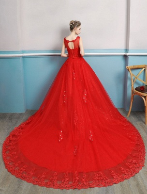 Red Wedding Dresses Lace Applique Beaded Princess Ball Gowns Train Bridal Dress_3