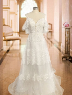 Boho Wedding Dresses 2021 A Line Deep V Neck Straps Lace Short Sleeve Bridal Gown For Beach Wedding With Sweep Train_4