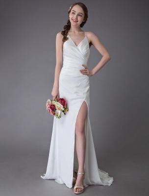 Beach Wedding Dresses Sexy Bridal Dress High Split Ivory Sheath Straps Summer Wedding Gowns Exclusive_2