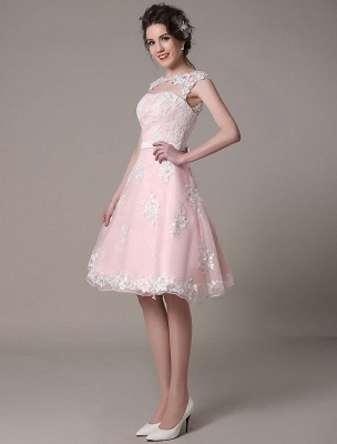 Lace Wedding Dress Cut Out Knee Length A-Line Bridal Dress With Satin Bow Exclusive_5