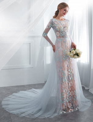 Colored Wedding Dresses Baby Blue Lace Long Sleeve Bridal Dress With Train_1