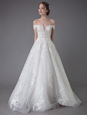 Robes de mariée d'été hors de l'épaule dentelle champagne appliques perles maxi plage robes de mariée_5