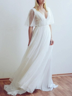 Simple Wedding Dress V Neck Half Sleeves Pleated A Line Floor Length Bridal Dresses_2