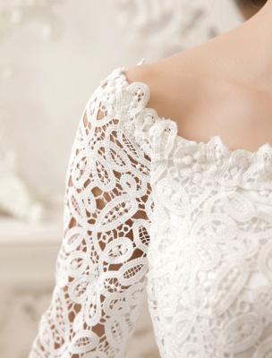 Vestidos de novia cortos y sencillos 2021 Encaje Manga larga Abertura Marfil Hasta la rodilla Vestido de recepción nupcial Exclusivo_7