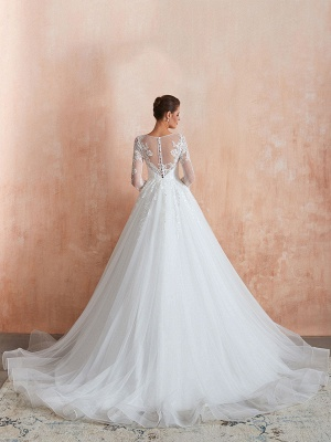 Wedding Gown 2021 3/4 Sleeve Jewel Neck Lace Appliqued Beaded Ball Gown Bridal Wedding Dress With Train_4