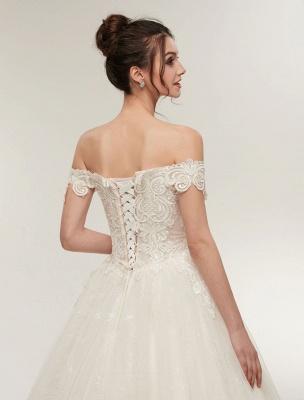 Princess Wedding Dresses Off The Shoulder Ivory Bridal Dresses Lace Applique Tulle Floor Length Ball Gowns_9