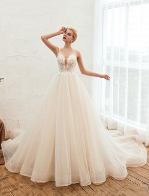 Vestido de novia 2021 Una línea Cuello en V Sin mangas Cintura natural con tren Vestidos de novia de tul_2