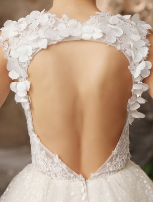 Ivory Backless Lace Applique Tulle Sequins Wedding Dress Exclusive_9