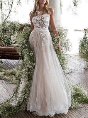 Wedding Dress Jewel Neck A Line Sleeveless Flowers Floorlength Backless Bridal Gowns_1