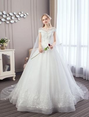Vestidos de novia de princesa Encaje Watteau Tren Apliques Vestidos de novia de marfil con cuentas_1