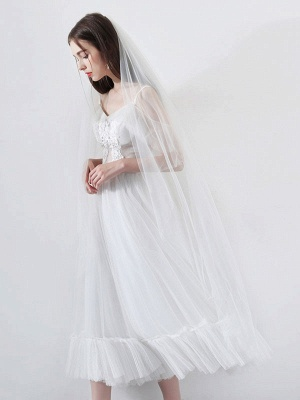 Short Wedding Dress 2021 A Line V Neck Short Sleeves Tea Length Bridal Dresses_5