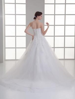 Vestido de novia de red de abalorios sin tirantes con cuello en color marfil_4