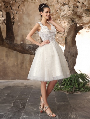 Ivory Backless Lace Applique Tulle Sequins Wedding Dress Exclusive_4