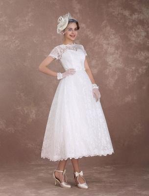Lace Wedding Dresses Short Sleeve 1950'S Vintage Bridal Dress Sweetheart Illusion Ivory A Line Tea Length Wedding Reception Dress Exclusive_5