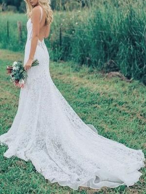 Boho Wedding Dresses Mermaid V Neck Sleeveless Lace Beach Bridal Dress With Train_3