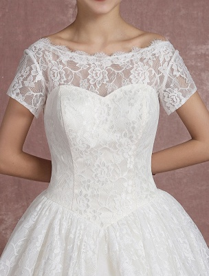Princess Wedding Dress Lace Vintage Bridal Gown Sweetheart Illusion Short Sleeve Back Design Ball Gown Bridal Dress In Ankle Length Exclusive_8