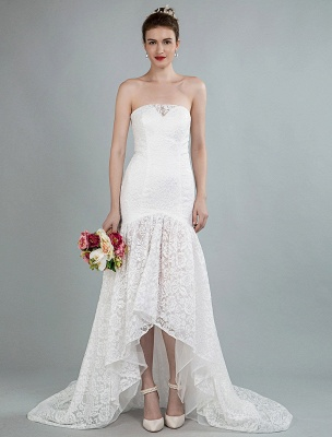 Einfache Brautkleider trägerlose ärmellose Spitze Meerjungfrau Brautkleider mit Zug_1