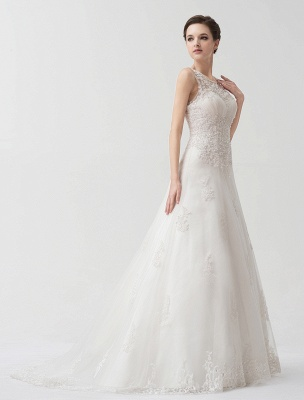 Sweep Ivory Lace Sweetheart A-Line Brides Wedding Dress With Adjustable Strap_3