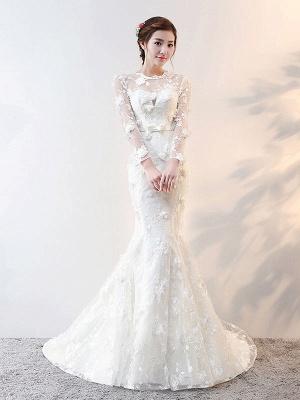 Brautkleider Langarm Meerjungfrau Blumen Applique Bows Elfenbein Brautkleid mit Zug_2