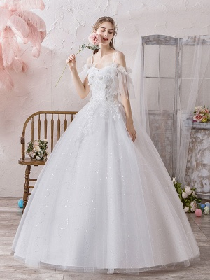 Ball Gown Wedding Dress Princess Silhouette Off The Shoulder Short Sleeves Natural Waist Floor Length Bridal Gowns_2