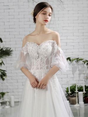 Vestido de novia de playa Vestidos de novia de marfil con hombros descubiertos Flores de media manga Escote corazón con cuentas Vestido de novia maxi para el verano_4