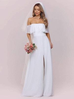 Weißes einfaches Brautkleid Chiffon Bateau-Ausschnitt Ärmellos Split Front A-Linie Lange Brautkleider_6