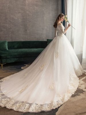 Princess-Wedding-Dresses-Ivory-Lace-Applique-Off-The-Shoulder-Half-Sleeve-Bridal-Gown-With-Train_5