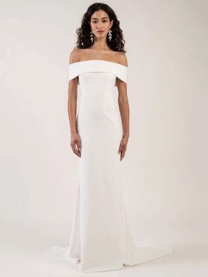 White Simple Wedding Dress Bateau Neck Sleeveless Natural Waist Backless Satin Fabric Long Mermaid Bridal Gowns_3