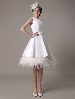 A-Line Wedding Dress Knee-Length Feather Tiered Satin Bow Bridal Dress Exclusive_2