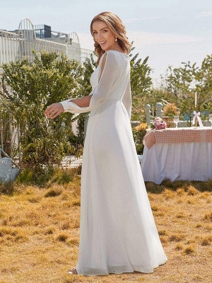 White Simple Wedding Dress A-Line V-Neck Long Sleeves Natural Waist Chiffon Long Bridal Dresses_4