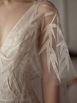Brautkleider 2021 Mantel Sihouette Halbarm V-Ausschnitt Bodenlangen Bambusblatt Spitze Brautkleid_4