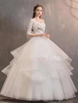 Elfenbein Brautkleider Tüll Illusion Ausschnitt Halbarm Bodenlangen Prinzessin Brautkleid_3