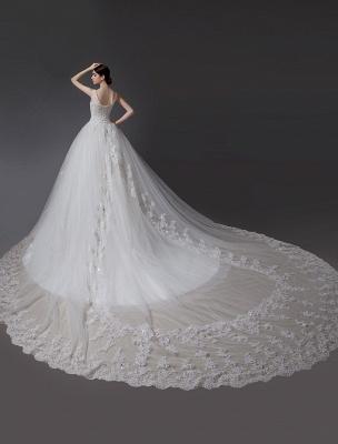 Brautkleider V-Ausschnitt Spitze Applique Brautkleid Pailletten Perlen Illusion Lange Kathedrale Zug Brautkleid_4